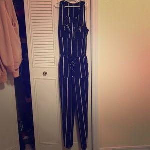 Jumpsuit blue w/ white stripes